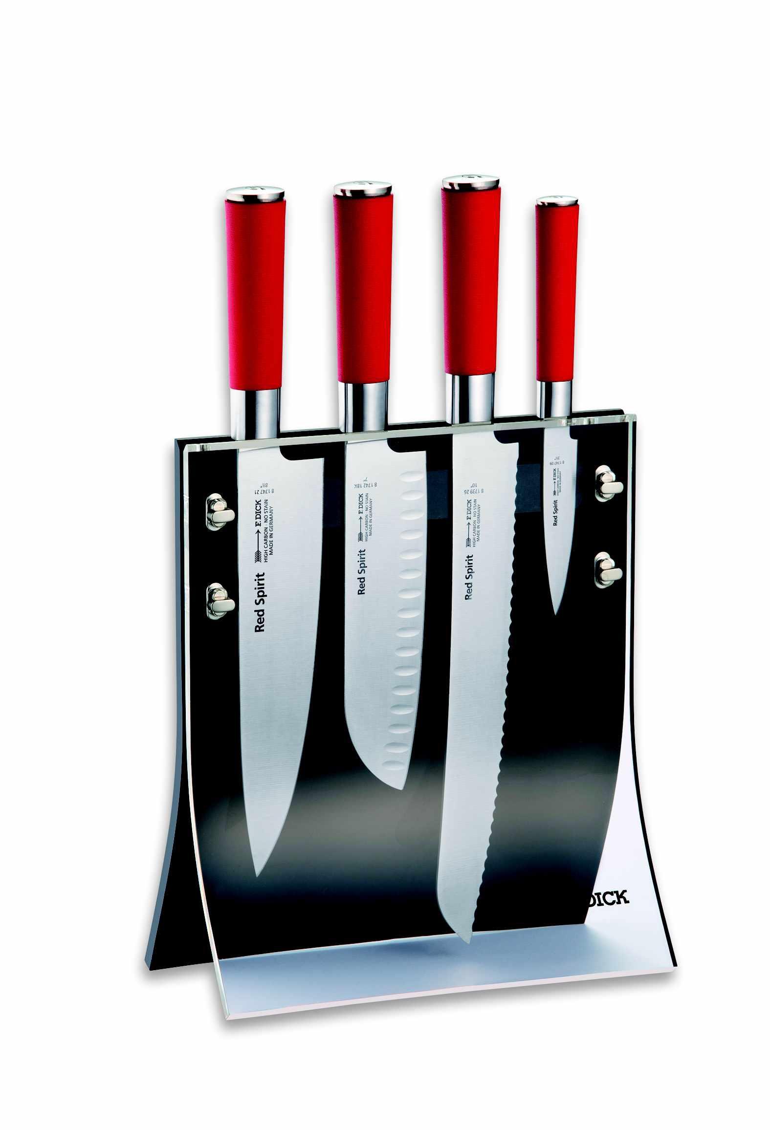 F.Dick, Sada kuchařských kovaných nožů 4ks s magnetickým stojanem, Red Spirit