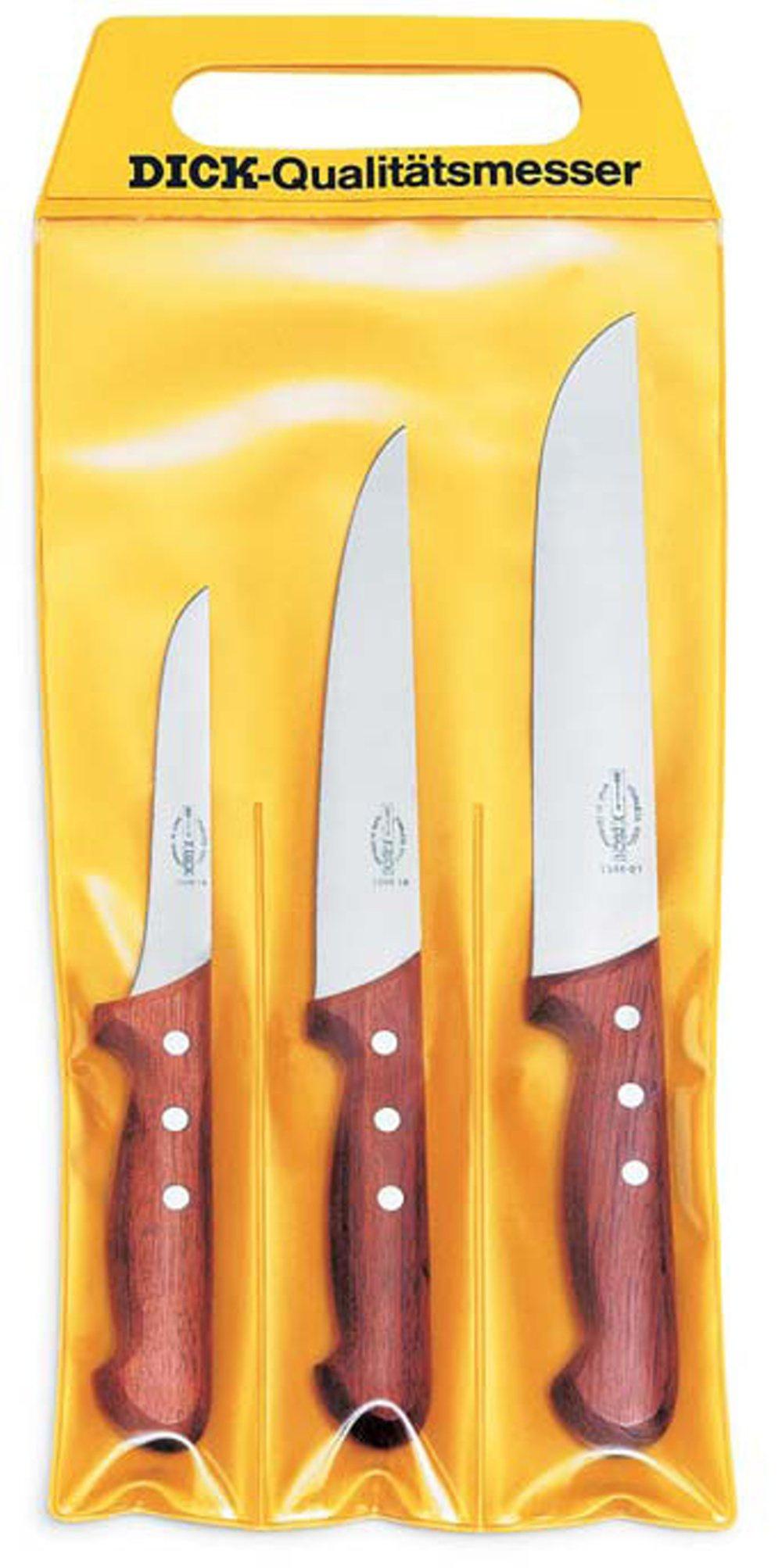 F.Dick Sada 3 řeznických nožů se dřevěnou rukojetí
