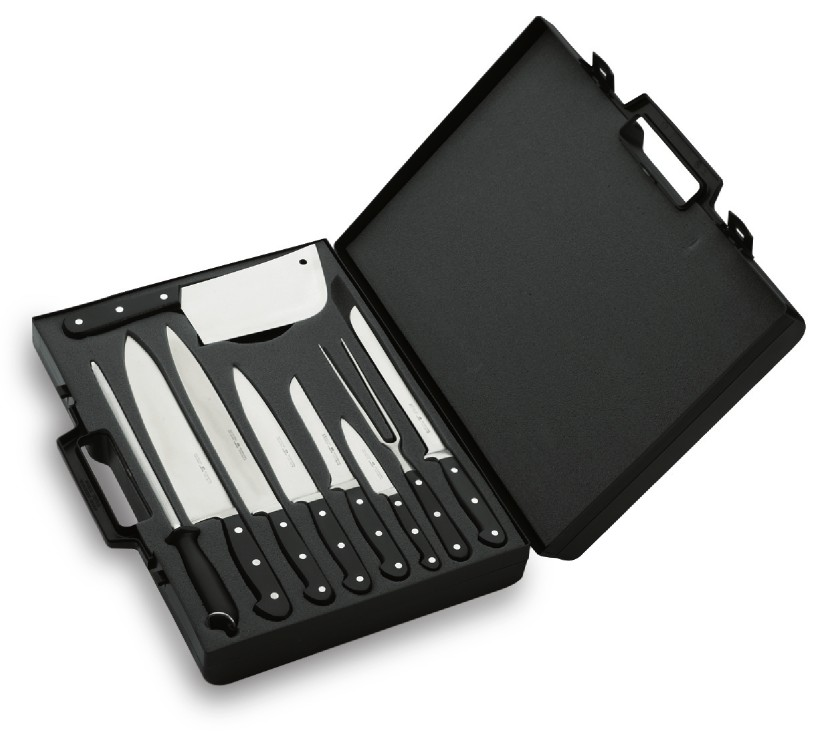 Lacor, Nůž celokovaný, sada profi nožů v kuchařském kufru, e-39004